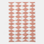 Coral and White Diamond Pattern Kitchen Towel