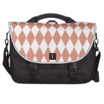 Coral and White Diamond Pattern Laptop Bags