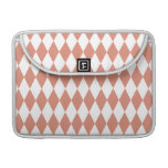 Coral and White Diamond Pattern MacBook Pro Sleeves