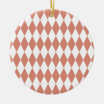 Coral and White Diamond Pattern Ornaments