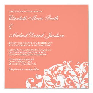 """Coral and White Flourish Swirl Wedding Invitations 5.25"""" Square Invitation Card"""