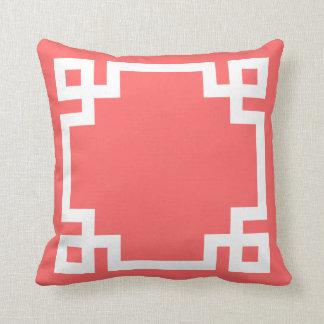 Coral and White Greek Key Border Throw Pillow