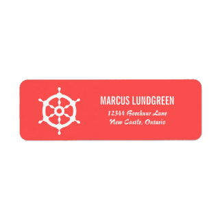 Coral and White Helm Nautical Return Address Label