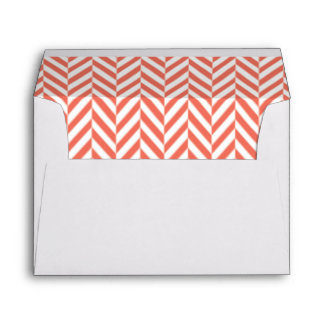 Coral and White Herringbone Lined Envelopes
