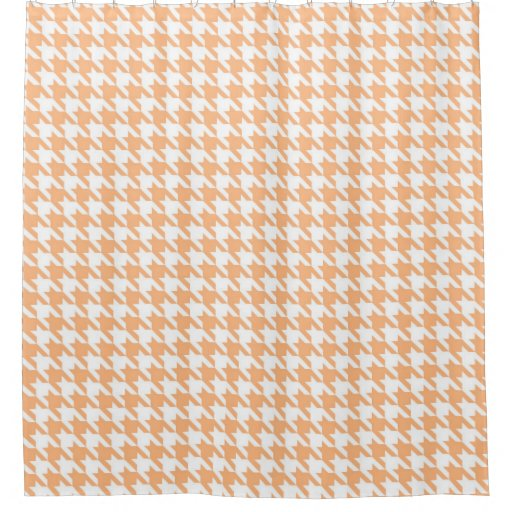 Coral And White Houndstooth Pattern Shower Curtain Zazzle