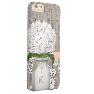 Coral and White Hydrangea Monogrammed Mason Jar Barely There iPhone 6 Plus Case