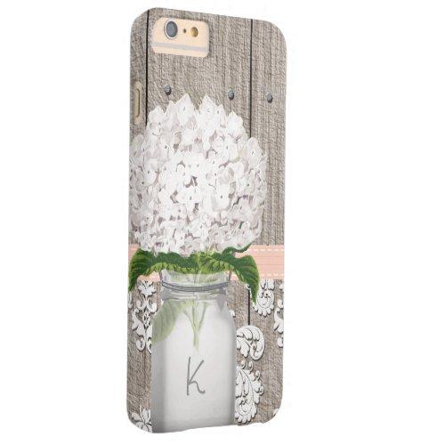 Coral and White Hydrangea Monogrammed Mason Jar Phone Case