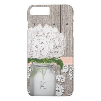Coral and White Hydrangea Monogrammed Mason Jar iPhone 7 Plus Case