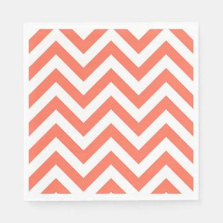 Coral and White Large Chevron ZigZag Pattern Paper Napkin