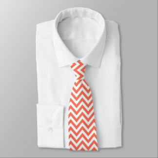 Coral and White Large Chevron ZigZag Pattern Tie