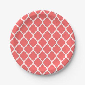 Coral and White Moroccan Quatrefoil Paper Plate