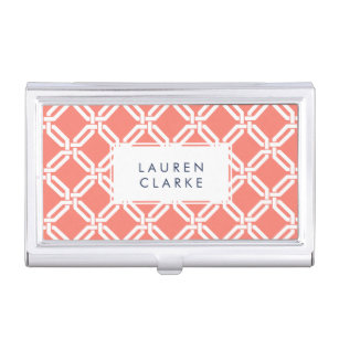Coral and White Octagon Link Lattice Pattern Case For Business Cards