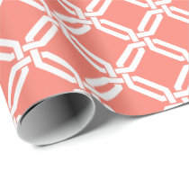 Coral and White Octagon Link Lattice Pattern Wrapping Paper