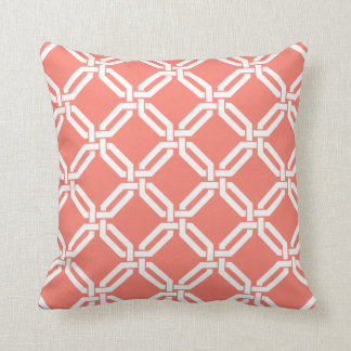 Coral and White Octagon Link Pattern Throw Pillow