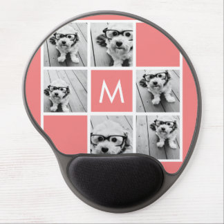 Coral and White Photo Collage Custom Monogram Gel Mouse Pad