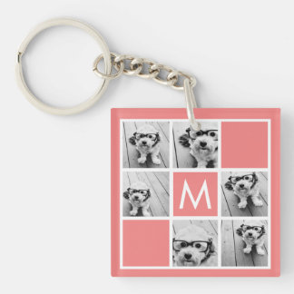 Coral and White Photo Collage Custom Monogram Keychain