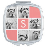 Coral and White Photo Collage Custom Monogram Vanity Mirrors