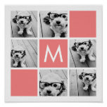 Coral and White Photo Collage Custom Monogram Print