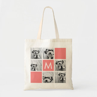 Coral and White Photo Collage Custom Monogram Tote Bag