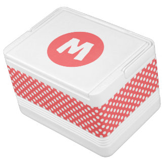 Coral and White Polka Dot Monogram Cooler