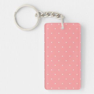 Coral and White Polka Dot Spots Keychain