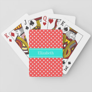 Coral and White Polka Dots Brt Aqua Name Monogram Playing Cards