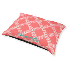 Coral and White Polka Dots in Frames Personalized Pet Bed