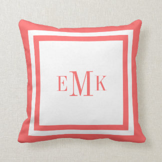 Coral and White Preppy Ribbon Dots Custom Monogram Pillow
