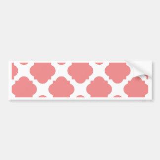 Coral and White Quatrefoil Pattern Bumper Sticker