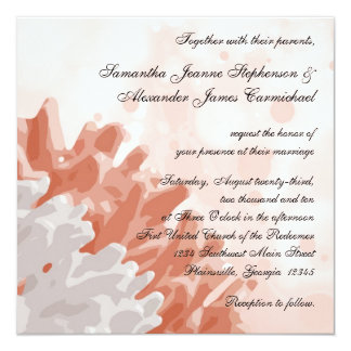 Coral and White Reef Beach Wedding Invitations