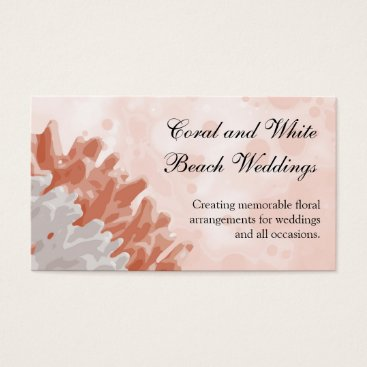 Beach Themed Coral and White Reef Business Card