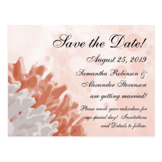 Coral and White Reef Ocean Save the Date Post Card