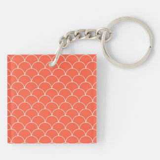 Coral and White Scallop Pattern Keychain