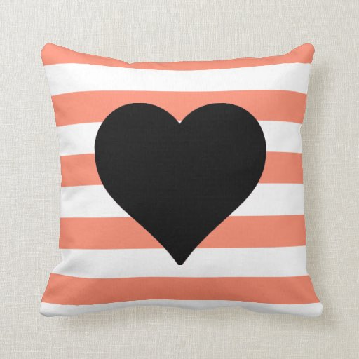 Coral and White Striped Black Heart Throw Pillow Zazzle