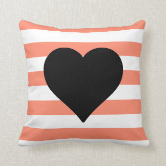 Coral and White Striped Black Heart Throw Pillow