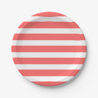 Coral and White Stripes Paper Plate