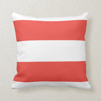 Coral and White Stripes Throw Pillow