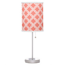 Coral and White Summer Octagon Link Pattern Desk Lamp