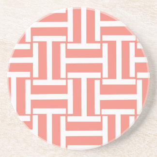 Coral and White T Weave Coaster