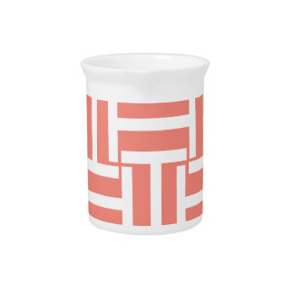 Coral and White T Weave Pitchers