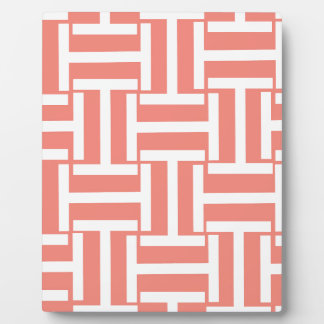 Coral and White T Weave Plaque