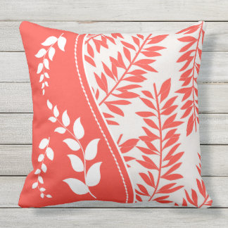 Coral and White with Golden Yellow Summer Leaves Outdoor Pillow