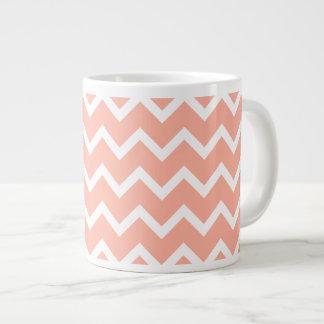 Coral and White Zig Zag Pattern. 20 Oz Large Ceramic Coffee Mug