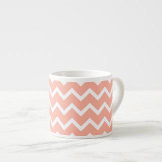 Coral and White Zig Zag Pattern. 6 Oz Ceramic Espresso Cup