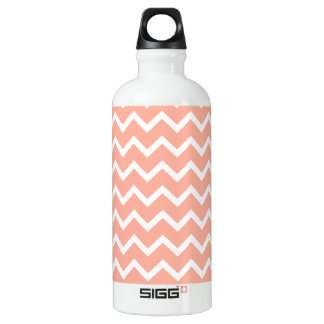 Coral and White Zig Zag Pattern. Aluminum Water Bottle