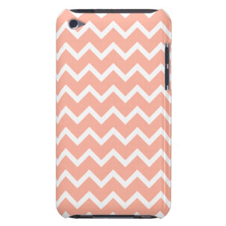 Coral and White Zig Zag Pattern. Barely There iPod Cover