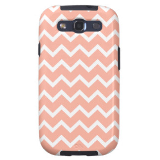 Coral and White Zig Zag Pattern Galaxy S3 Cases