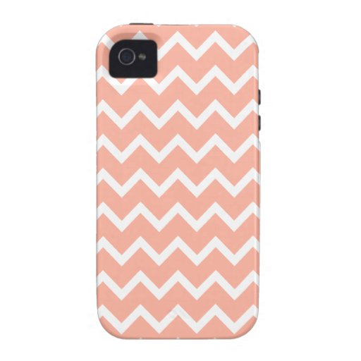 Coral and White Zig Zag Pattern. Case-Mate iPhone 4 Case