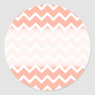 Coral and White Zig Zag Pattern. Classic Round Sticker