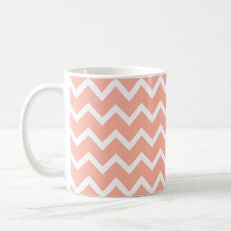 Coral and White Zig Zag Pattern. Classic White Coffee Mug